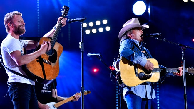 Dierks Bentley performs with guest Dwight Yoakam at the CMA Music Festival on Sunday, June 10, 2018, at Nissan Stadium in Nashville.