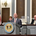 Gov. Jack A. Markell gives his final State of the State Address in the House Chambers in Legislative Hall on Jan. 21.