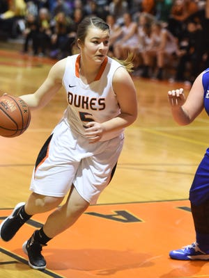 Marlboro High School's Emily Beck makes a move to the hoop against Rondout Valley in a Section 9 Class B quarterfinal in Marlboro.