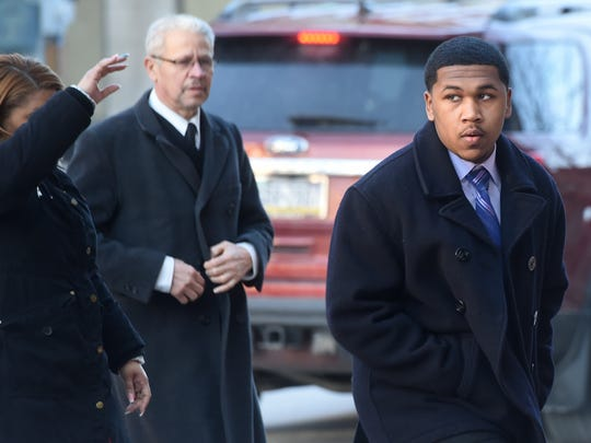 In this file photo from Feb. 8, 2018, Kelvin Mercedes, now 17, of Manchester Township, right, makes his way to the York County Judicial Center for his preliminary hearing.