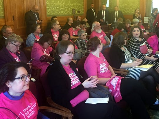 Supporters of Planned Parenthood wore pink shirts to an Iowa Senate Committee meeting on Jan. 17, 2017.
