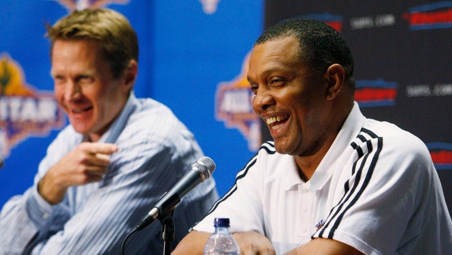 Phoenix Suns President of Basketball Operations and General Manager Steve Kerr (left) and new head coach Alvin Gentry (cq) during a press conference at US Airways Arena in Phoenix, AZ.