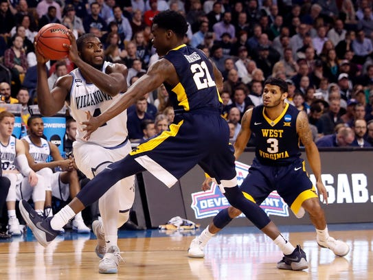 Villanova Wildcats forward Eric Paschall (4) looks