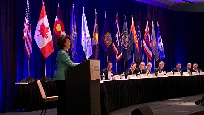U.S. Department of Transportation Secretary Elaine L. Chao speaks at the Western Governors' Association Saturday, Dec. 2, 2017 in Phoenix.