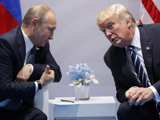 President Donald Trump meets with Russian President Vladimir Putin at the G20 Summit in Hamburg, Germany on July 7, 2017.