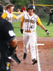 Connor Sweeny of Washington is congratulated by a teammate as he trots home after hitting a first-inning home run against Nogales, Arizona, last week at the West Regional tournament.