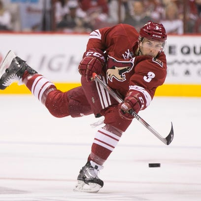 Coyotes' Keith Yandle shoots against the Panthers in