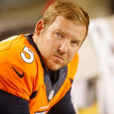 Aug 7, 2014; Denver, CO, USA; Denver Broncos kicker Matt Prater (5) during the game against the Seattle Seahawks at Sports Authority Field at Mile High. The Broncos won 21-16. Mandatory Credit: Chris Humphreys-USA TODAY Sports
