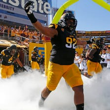 Arizona State #92 Jaxon Hood takes the field to play UCLA at Sun Devil Stadium during PAC-12 action in Tempe, AZ on October 27, 2012.