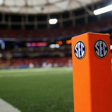 ATLANTA, GA - DECEMBER 07:  An 'SEC' logo is seen on an end zone pylon before the Missouri Tigers take on the Auburn Tigers during the SEC Championship Game at Georgia Dome on December 7, 2013 in Atlanta, Georgia.  (Photo by Mike Ehrmann/Getty Images)