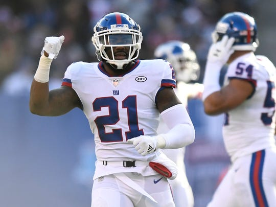 New York Giants safety Landon Collins wearing uniform number 21.