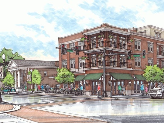 A new rendering shows the proposed Harpeth Square from the intersection of East Main Street and First Avenue.