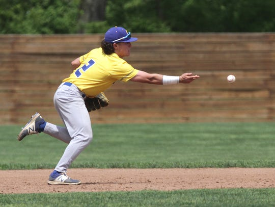 Ontario's Avery Fisher throws to first base during