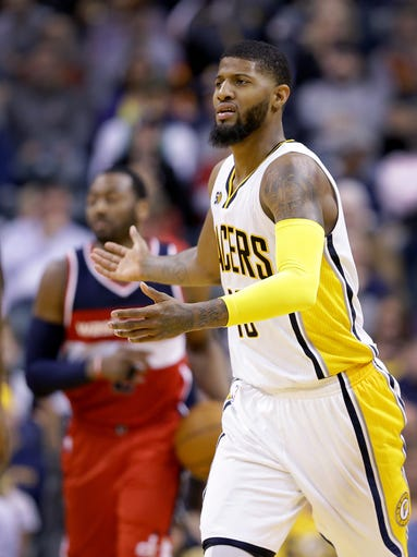 Indiana Pacers forward Paul George (13) argues a call