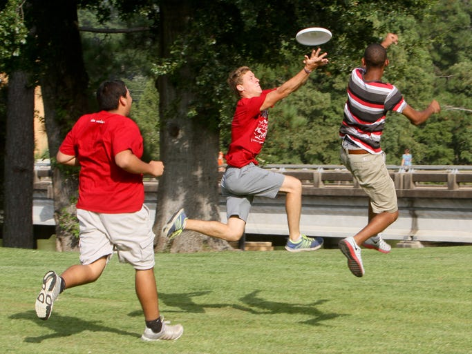 The Wesley Foundation and the Campus Activities Board host Monday's Week of Welcome event, Fish Fry and Frisbees, in Bayou Park of the University of Louisiana at Monroe.