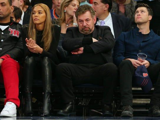 New York Knicks executive chairman James Dolan watches