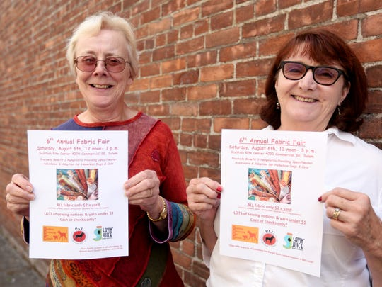 Lora Meisner, left, and Debbie West invite people to the 6th annual Fabric Fair, benefiting spay/neuter providers and animal adoption groups, on Saturday at the Scottish Rite Center. Photographed during the Statesman Journal's Holding Court at the Court Street Dairy Lunch in downtown Salem on Tuesday, Aug. 2, 2016.