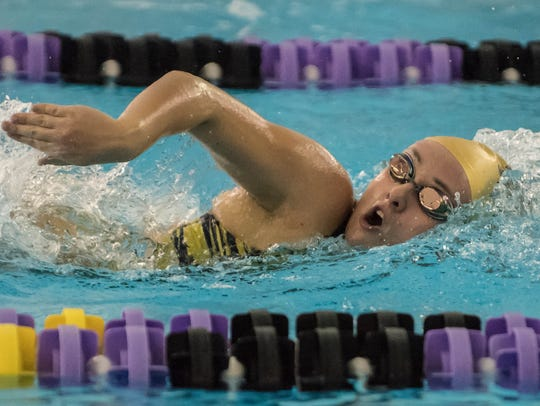 Battle Creek Central's Morgan Mowry competes in the