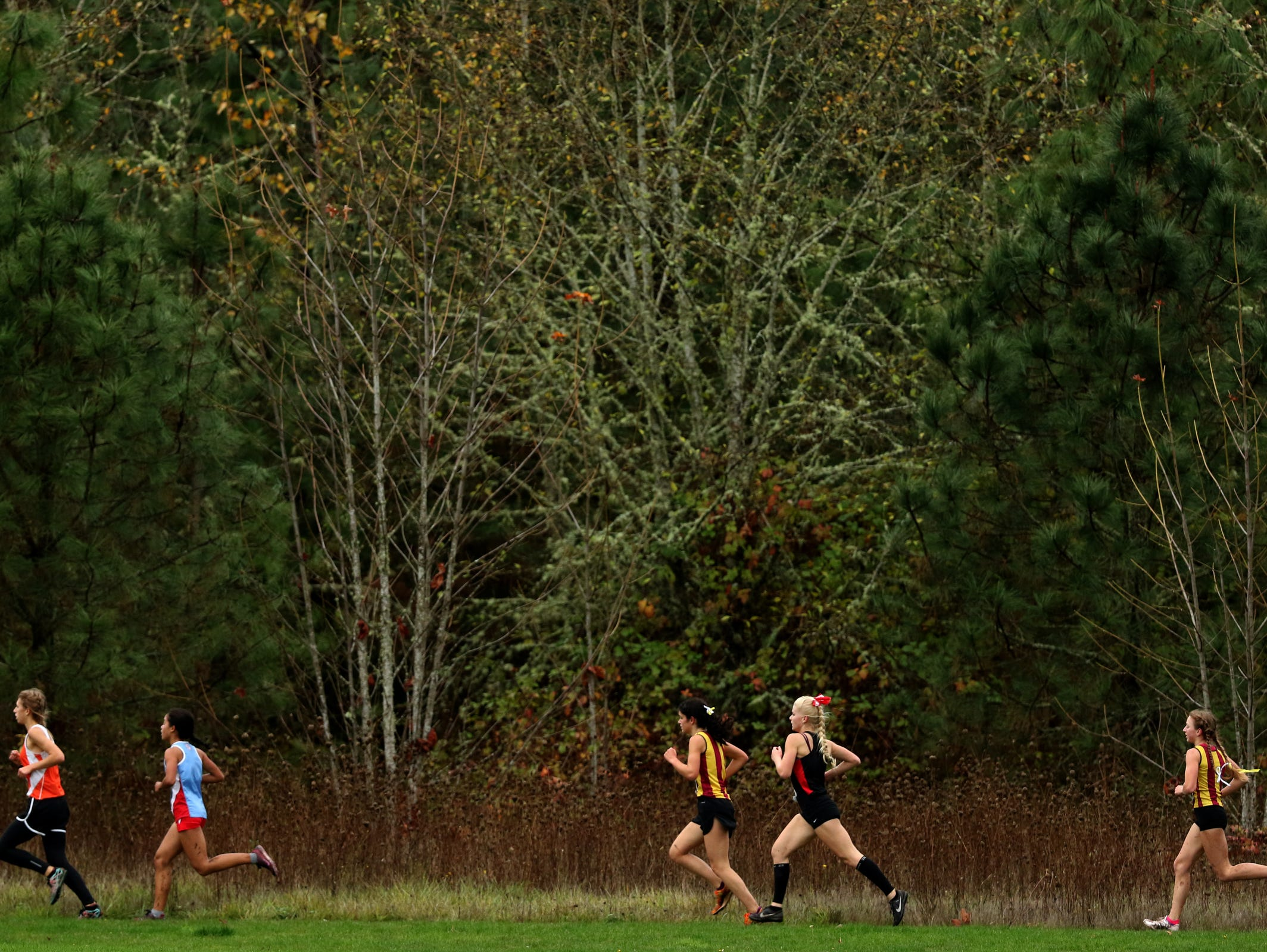 Runners compete in the Greater Valley Conference championship girl's 5K race at the Crystal Lake Sports Park in Corvallis on Wednesday, Oct. 26, 2016. Sprague's Ginger Murnieks finished first.
