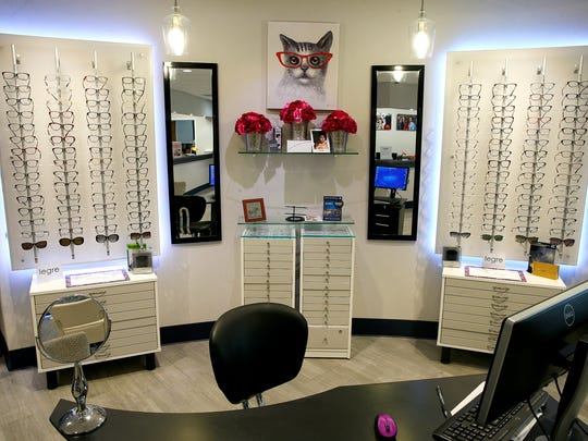 Lines of eyeglass frames are shown at InVision Eye Care in Lakewood Wednesday, July 5, 2017.
