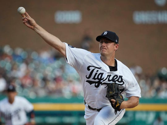 Tigers pitcher Jordan Zimmermann delivers against the Twins in the first inning Aug. 12, 2017 at Comerica Park.