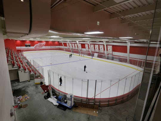 The Red Wings practice ice rink at Little Caesars Arena