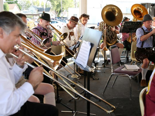 The Marion County Citizens Band performs at the Mt. Angel Oktoberfest in Mt. Angel, Ore., on Friday, Sept. 15, 2017. Oktoberfest continues Saturday and Sunday.
