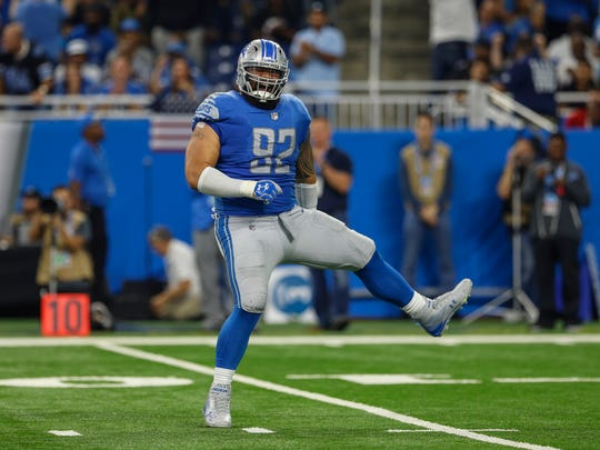 Haloti Ngata celebrates after sacking Cam Newton in the first half of the Lions' 27-24 loss to the Carolina Panthers at Ford Field on Sunday, Oct. 8, 2017.