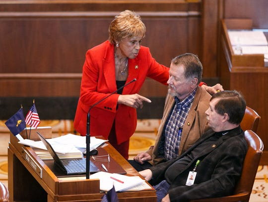 (Left to right) Senator Jackie Winters, R-Salem, stops