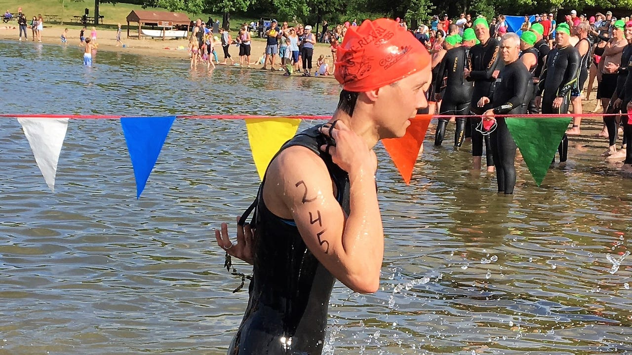 Thierry Guertin of Windsor, Ontario and Hannah DePaul of Northville were the winners in the Triceratops Triathlon at Island Lake State Recreation Area. The race is the first in a three-event series.