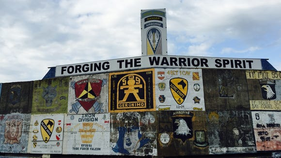 Units that come to train at Fort Polk paint their unit symbols on the Joint Readiness Training Center's War Memorial.