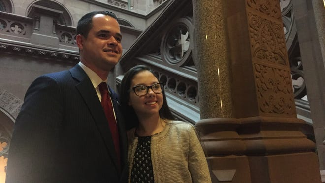 Sen. David Carlucci, D-Clarkstown, poses at the state Capitol with Lauren Shields, who inspired Lauren's Law for organ donations