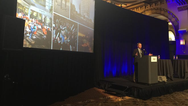 Indianapolis Mayor Joe Hogsett spoke at the annual State of Downtown meeting at Union Station on Thursday, March 24, 2016.