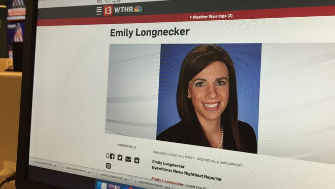 Emily Longnecker's bio page is seen on WTHR.com Wednesday, July 27, 2016