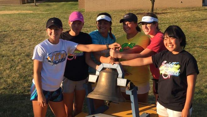 Heidi Marshall, Jil Eisenblaetter, Paige Brown, Alayna Barrera, Saylor Meyer and Akane Aritsuka are the seniors on Clyde's outright SBC champion tennis team.