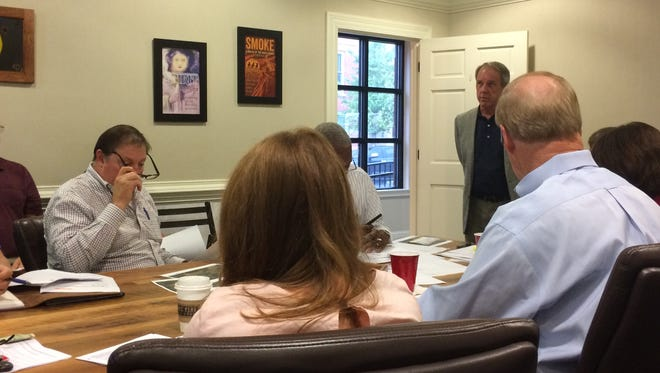The Robertson County Economic Development Board hears a presentation from Mike Evans, executive director of the Clarksville-Montgomery County Industrial Development Board, about the potential development of a megasite in northwestern Robertson County on Tuesday, Oct. 10, 2017