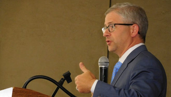 Tenth District U.S. Rep. Patrick McHenry, R-Lincoln, gestures during a talk to the Council of Independent Business Owners Wednesday.