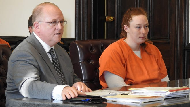 Attorney Jeff Mullen with client Danielle R. Pack Tuesday in Coshocton County Common Pleas Court. Pack received three years community control sanctions and ordered to complete a community based corrections program for drugs on charges relating to stealing a car and leading police on a chase.