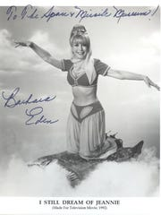 "An ""I Dream of Jeannie"" exhibit is on display at the Air Force Space and Missile History Center. Actress Barbara Eden visited the museum in June 1969."