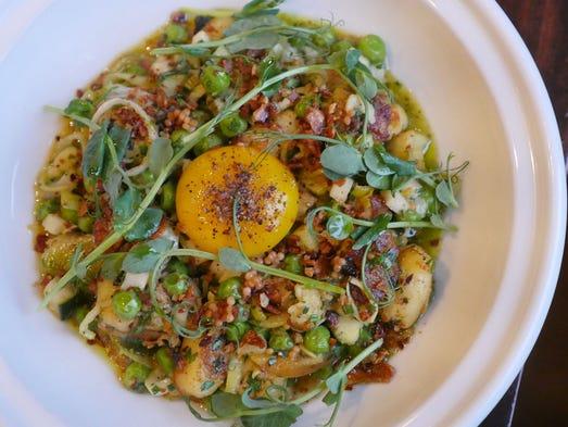Ricotta gnocchi with Michigan peas, relish, garlic