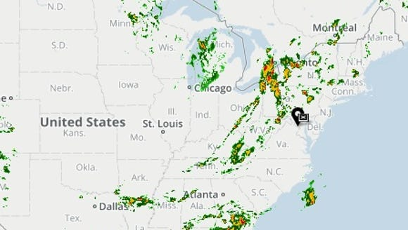 USA TODAY's Weather page showed a large area of storminess