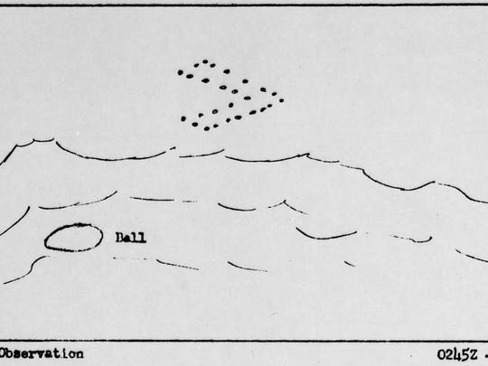 A sketch, provided to the Air Force, explaining a UFO sighting in Palm Springs in 1957.