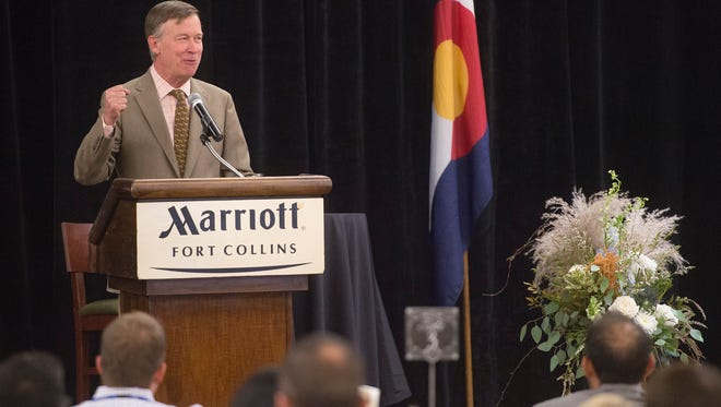 Governor John Hickenlooper speaks on small businesses in Colorado during the Business Appreciation Breakfast hosted by the City of Fort Collins at the Fort Collins Marriott on Wednesday, September 13, 2017.