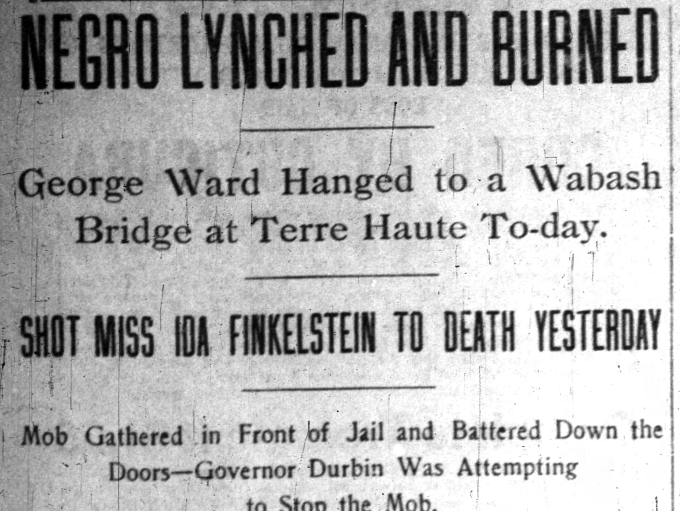 George Ward was hanged from a bridge over the Wabash