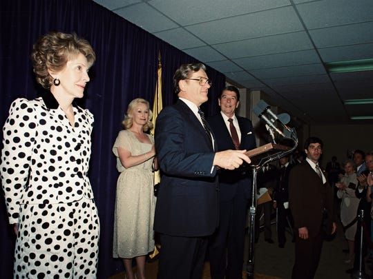 Nancy Reagan, Jean Ashbrook, Joe Shultz and Ronald Reagan at Ashland College during the president and first lady's visit for the John M. Ashbrook Memorial Dinner.
