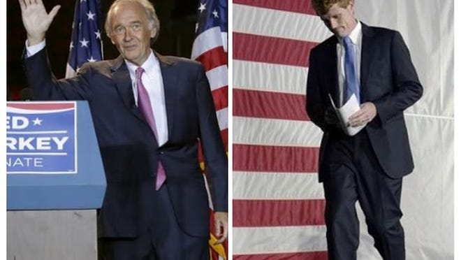 Ed Markey, left, and Joseph Kennedy after the results were known.