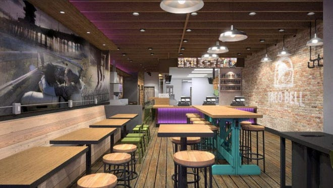 This Artist's rendering provided by Taco Bell Corp. shows the design of a new Taco Bell restaurant that serves alcohol in the Wicker Park neighborhood of Chicago.