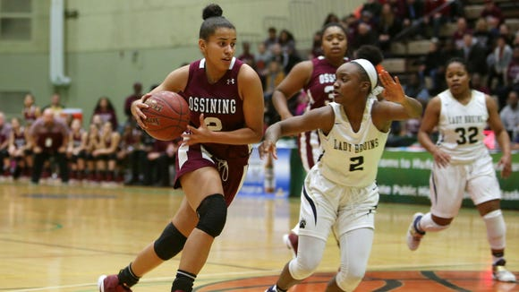 Ossining's Andra Espinoza-Hunter drives to the basket