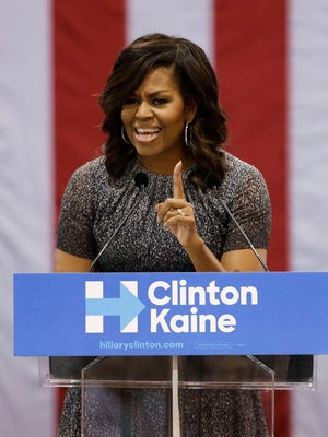 First lady Michelle Obama addresses the Arizona Democratic Party early-vote rally at the Phoenix Convention Center on Oct. 20, 2016. Obama is campaigning for Democratic presidential nominee Hillary Clinton.