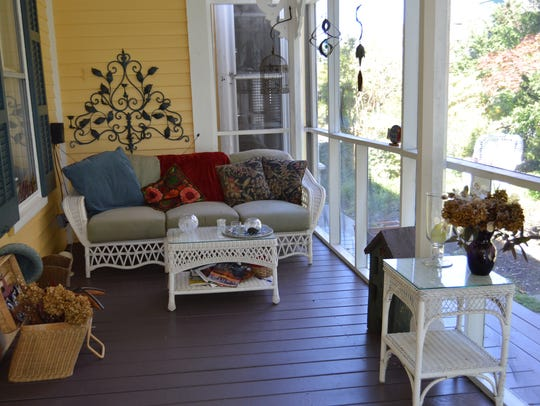 The Victorian B&B screened in porch is a favorite among